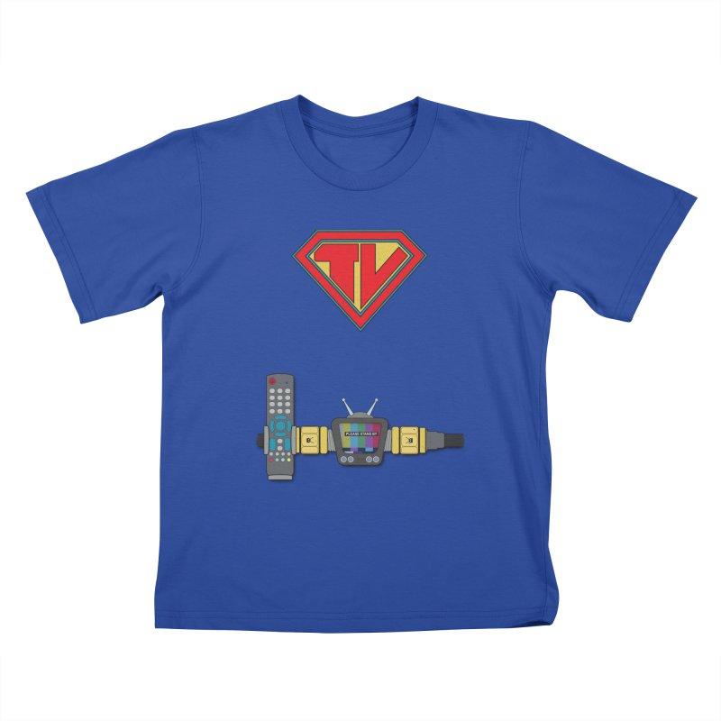 Super TV Man Kids T-Shirt by The Last Tsunami's Artist Shop