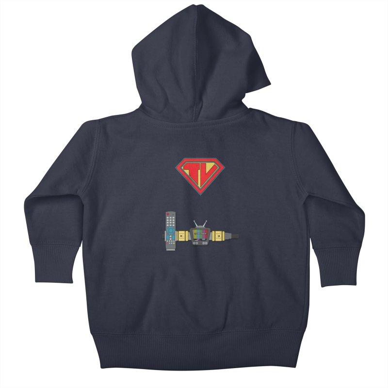 Super TV Man Kids Baby Zip-Up Hoody by The Last Tsunami's Artist Shop