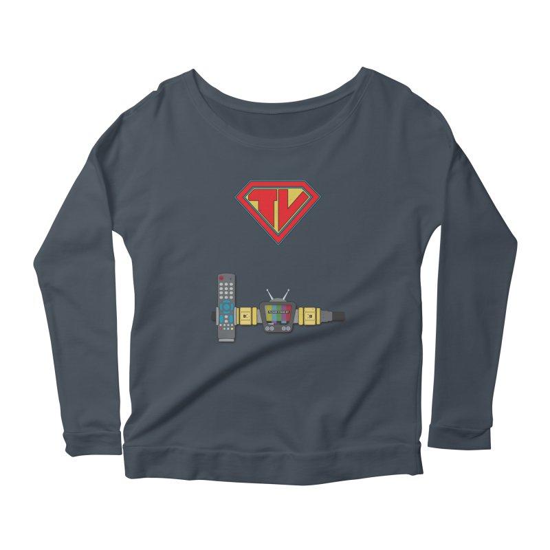 Super TV Man Women's Scoop Neck Longsleeve T-Shirt by The Last Tsunami's Artist Shop