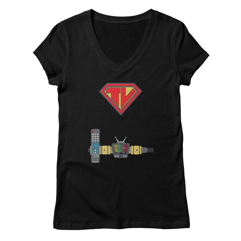 Super TV Man Women's Regular V-Neck by The Last Tsunami's Artist Shop