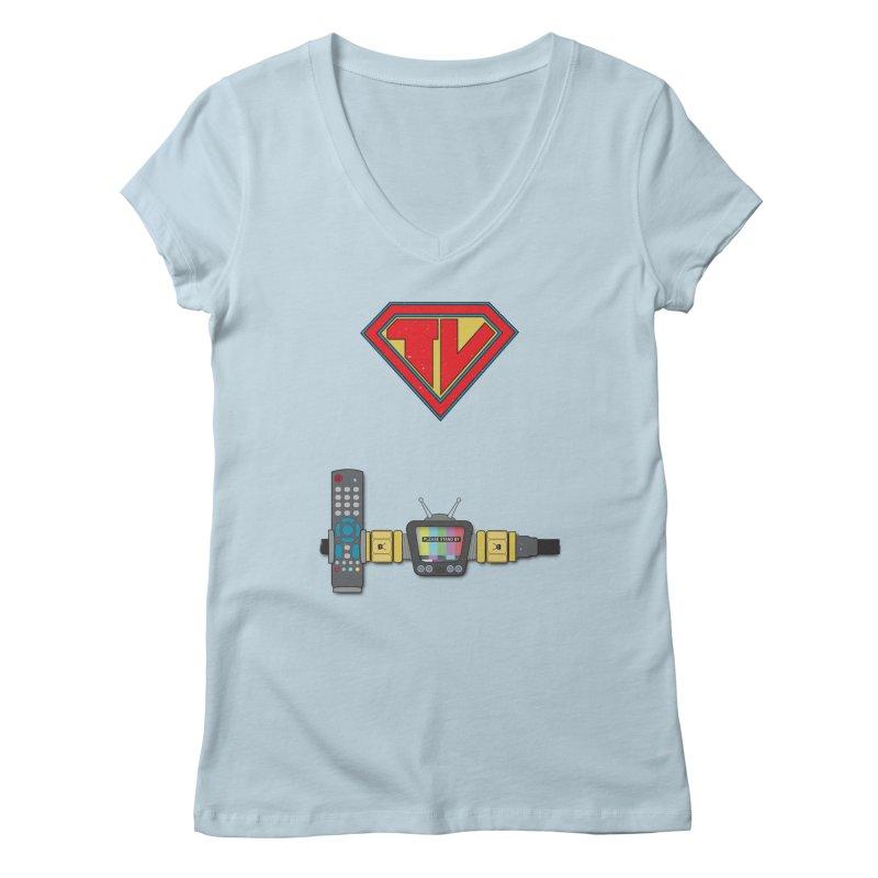 Super TV Man Women's V-Neck by The Last Tsunami's Artist Shop