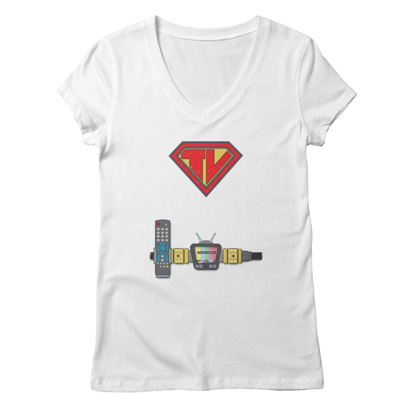 Super TV Man Women's V-Neck by The Last Tsunami's Artist Shop