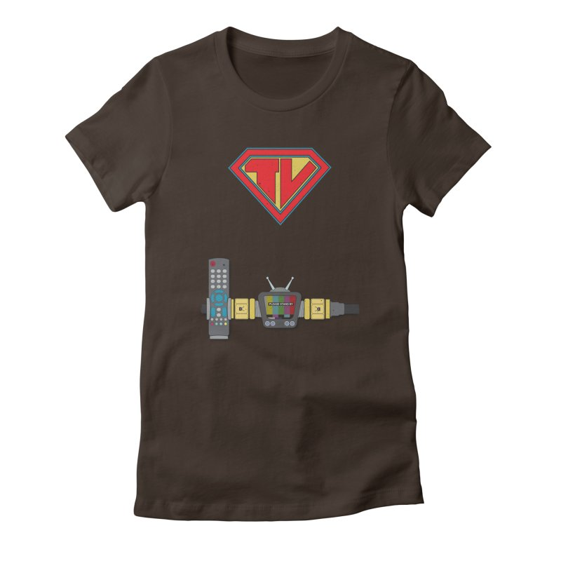 Super TV Man Women's Fitted T-Shirt by The Last Tsunami's Artist Shop