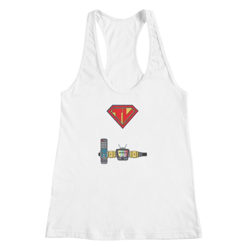 Super TV Man Women's Racerback Tank by The Last Tsunami's Artist Shop
