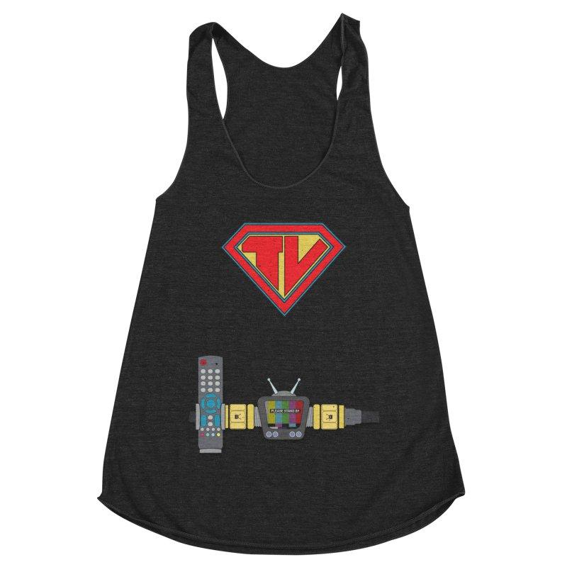 Super TV Man Women's Racerback Triblend Tank by The Last Tsunami's Artist Shop