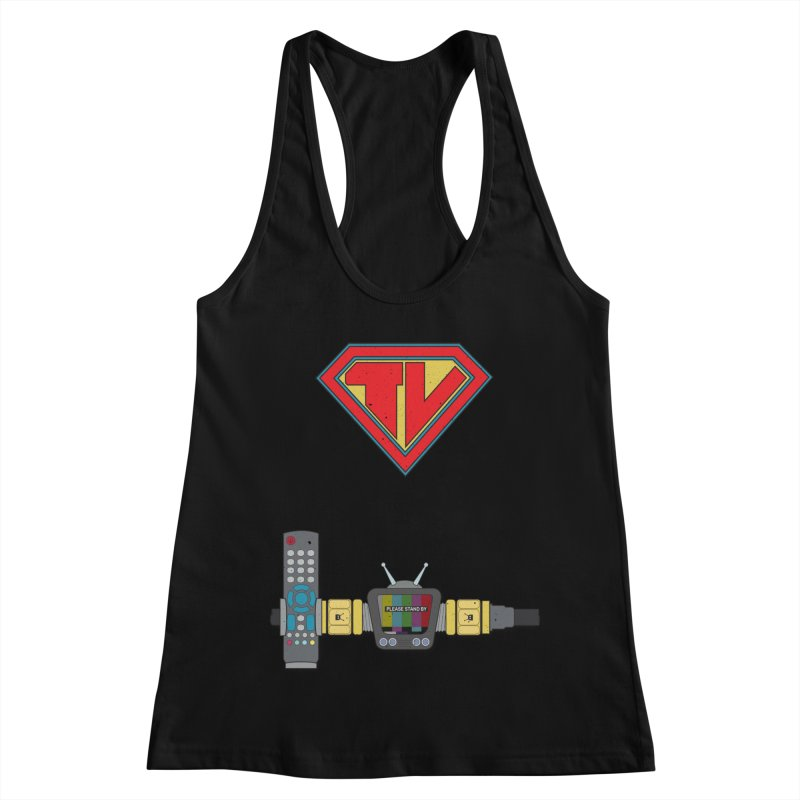 Super TV Man Women's Racerback Tank by The Last Tsunami's Artist Shop