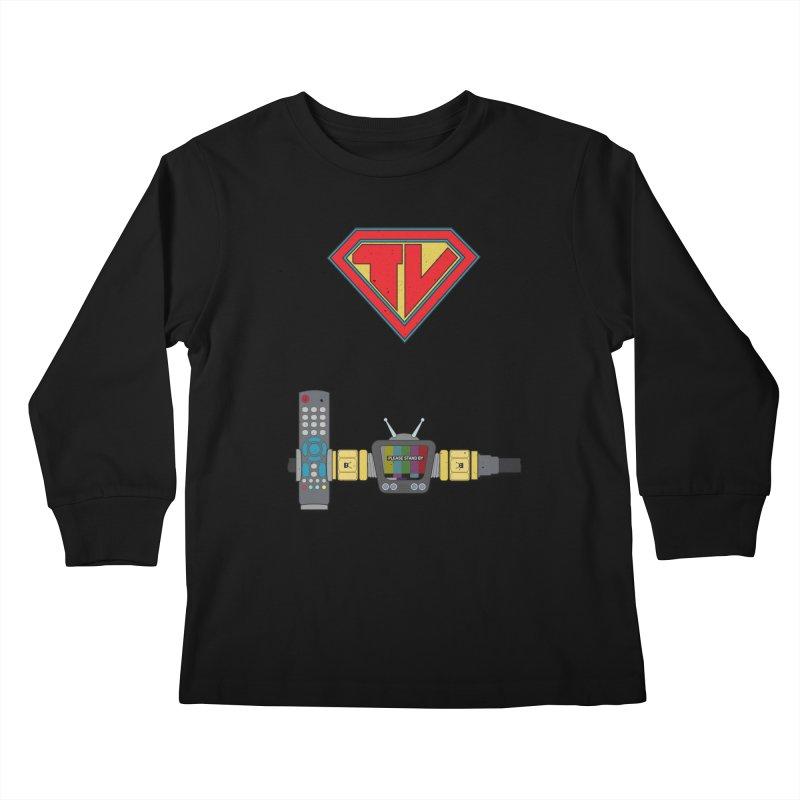 Super TV Man Kids Longsleeve T-Shirt by The Last Tsunami's Artist Shop