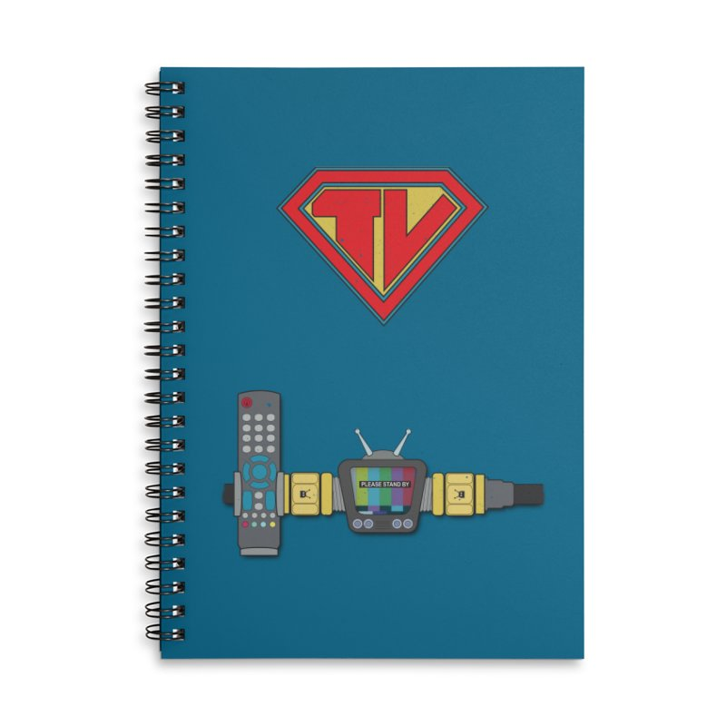 Super TV Man Accessories Lined Spiral Notebook by The Last Tsunami's Artist Shop
