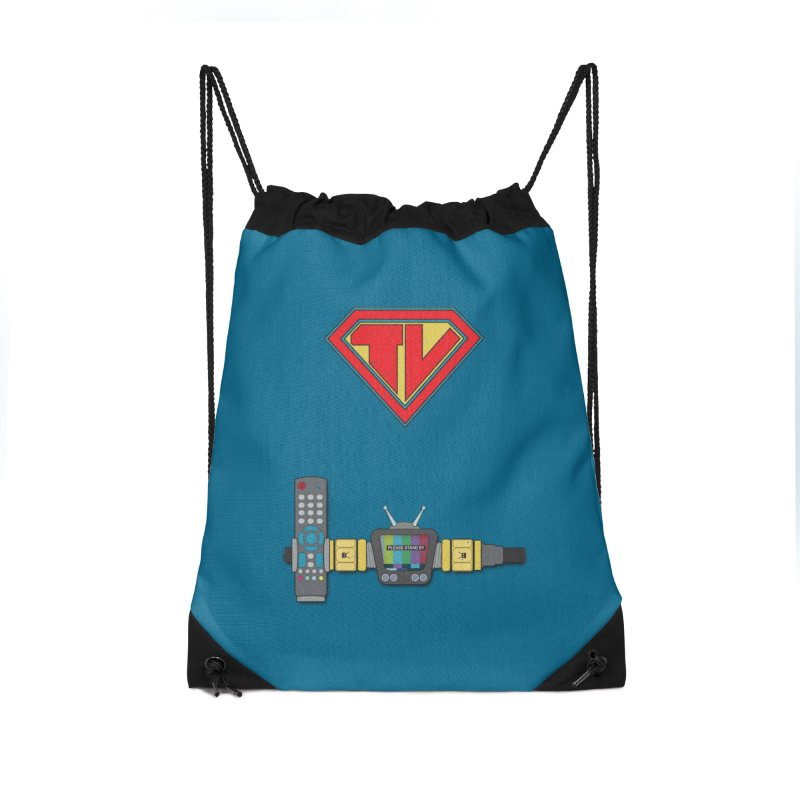 Super TV Man Accessories Drawstring Bag Bag by The Last Tsunami's Artist Shop