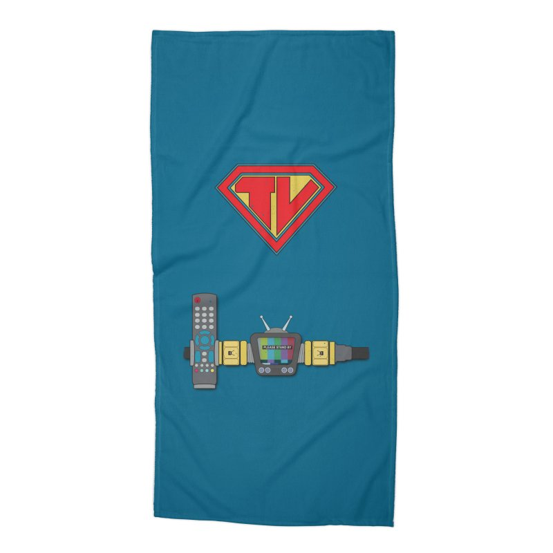 Super TV Man Accessories Beach Towel by The Last Tsunami's Artist Shop