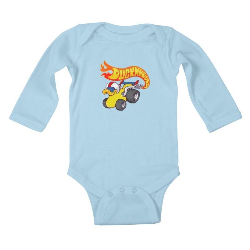 DuckWheels Kids Baby Longsleeve Bodysuit by The Last Tsunami's Artist Shop
