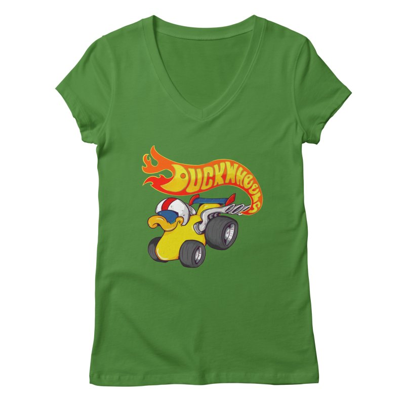 DuckWheels Women's V-Neck by The Last Tsunami's Artist Shop