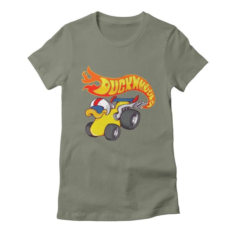 DuckWheels Women's Fitted T-Shirt by The Last Tsunami's Artist Shop