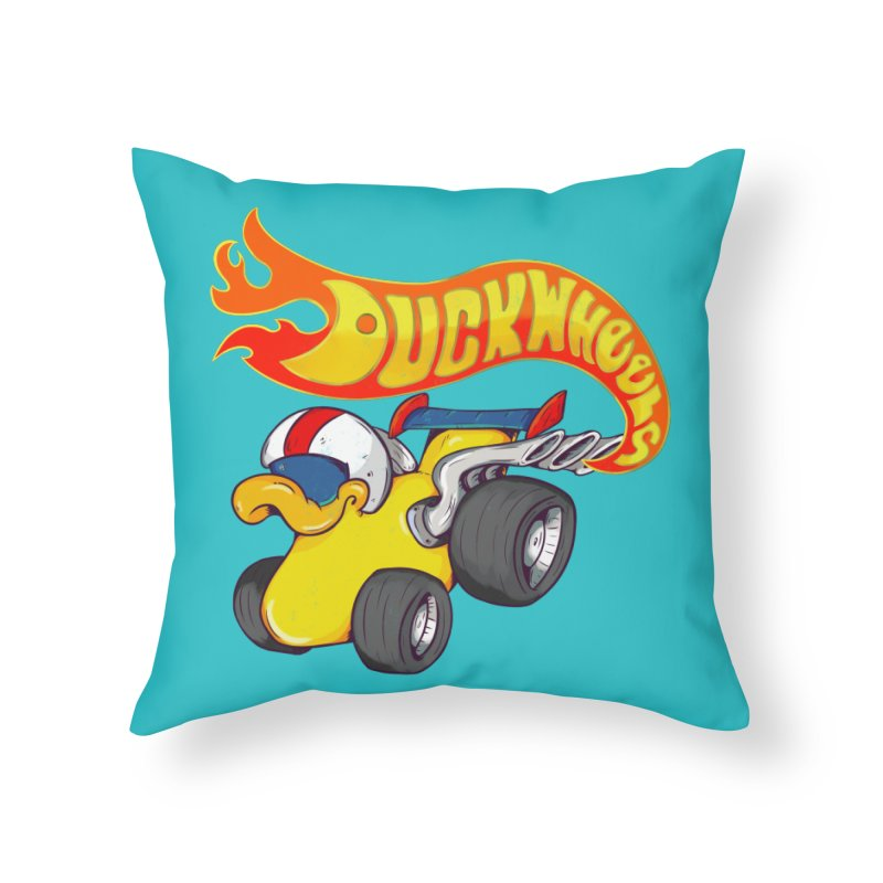 DuckWheels Home Throw Pillow by The Last Tsunami's Artist Shop