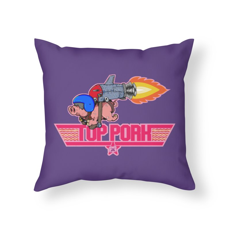 Top Pork Home Throw Pillow by The Last Tsunami's Artist Shop