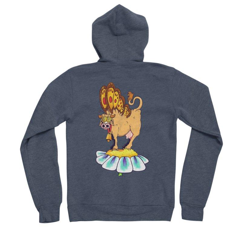 La Vaca Mariposa (The Cow Butterfly) Men's Sponge Fleece Zip-Up Hoody by The Last Tsunami's Artist Shop