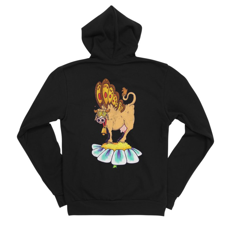La Vaca Mariposa (The Cow Butterfly) Women's Sponge Fleece Zip-Up Hoody by The Last Tsunami's Artist Shop