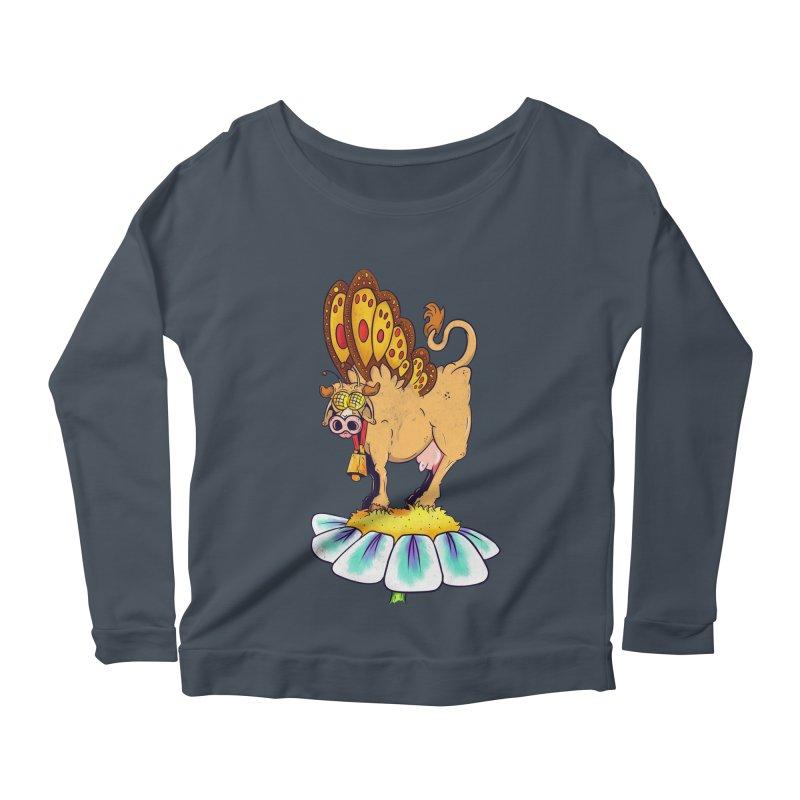 La Vaca Mariposa (The Cow Butterfly) Women's Scoop Neck Longsleeve T-Shirt by The Last Tsunami's Artist Shop