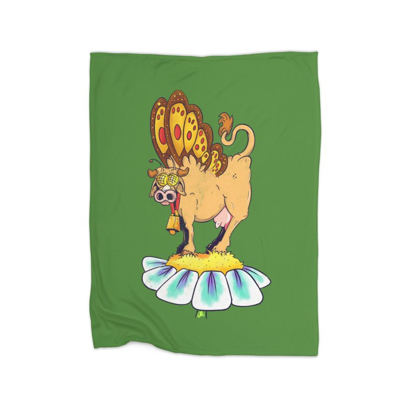 La Vaca Mariposa (The Cow Butterfly) Home Fleece Blanket Blanket by The Last Tsunami's Artist Shop