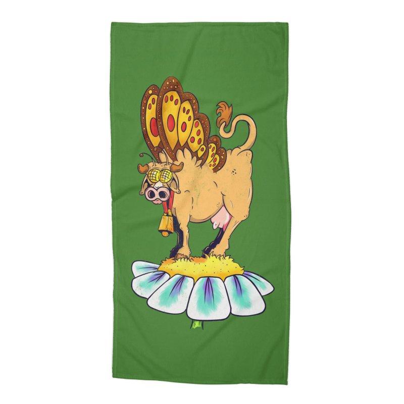 La Vaca Mariposa (The Cow Butterfly) Accessories Beach Towel by The Last Tsunami's Artist Shop
