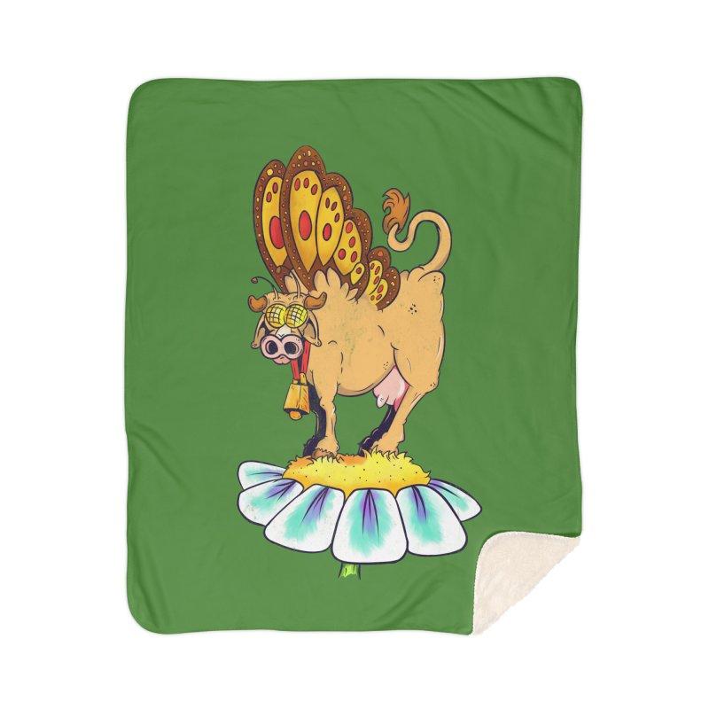 La Vaca Mariposa (The Cow Butterfly) Home Sherpa Blanket Blanket by The Last Tsunami's Artist Shop