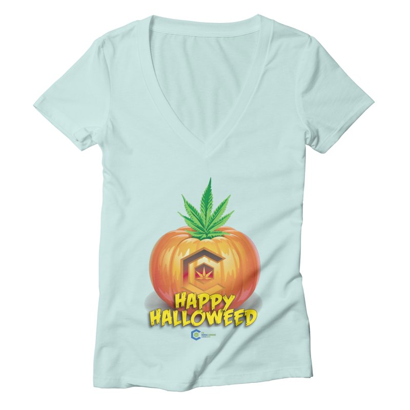 Happy Halloweed Women's Deep V-Neck V-Neck by The Medical Cannabis Community