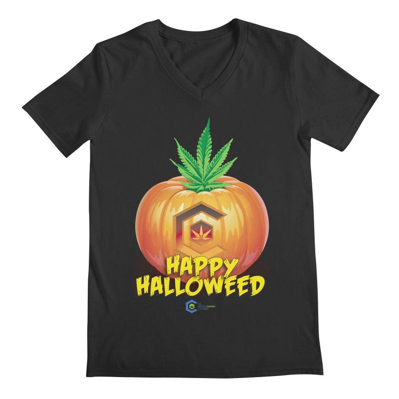 Happy Halloweed Men's Regular V-Neck by The Medical Cannabis Community