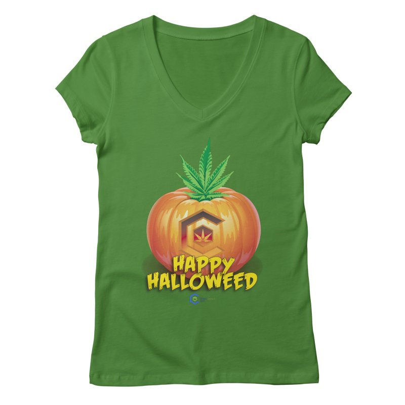 Happy Halloweed Women's Regular V-Neck by The Medical Cannabis Community