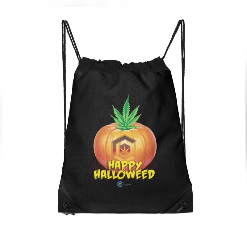 Happy Halloweed Accessories Drawstring Bag Bag by The Medical Cannabis Community