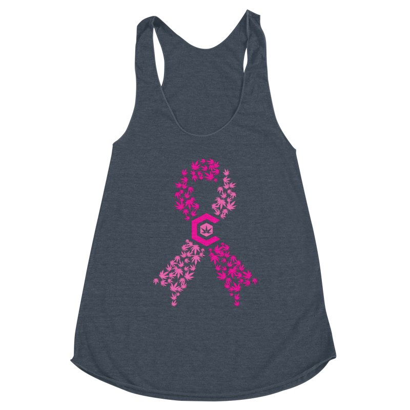 TMCC Pink Ribbon Women's Racerback Triblend Tank by The Medical Cannabis Community