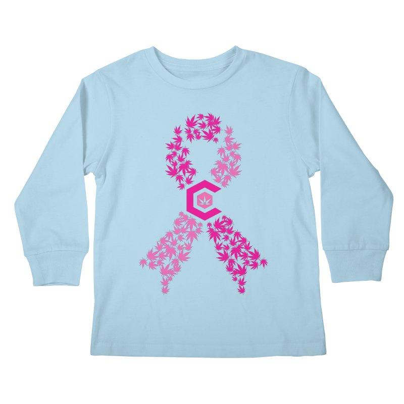 TMCC Pink Ribbon Kids Longsleeve T-Shirt by The Medical Cannabis Community