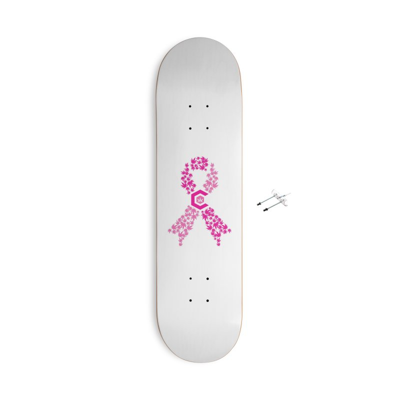 TMCC Pink Ribbon Accessories With Hanging Hardware Skateboard by The Medical Cannabis Community