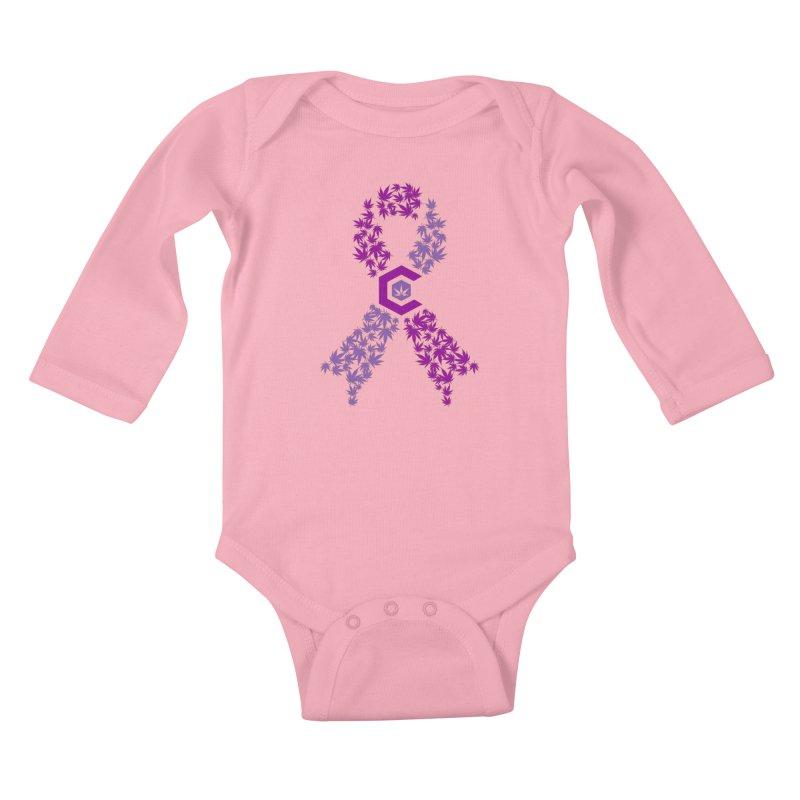 TMCC Purple Ribbon Kids Baby Longsleeve Bodysuit by The Medical Cannabis Community
