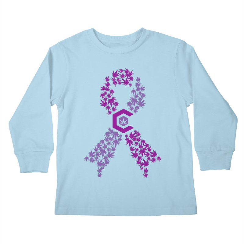 TMCC Purple Ribbon Kids Longsleeve T-Shirt by The Medical Cannabis Community