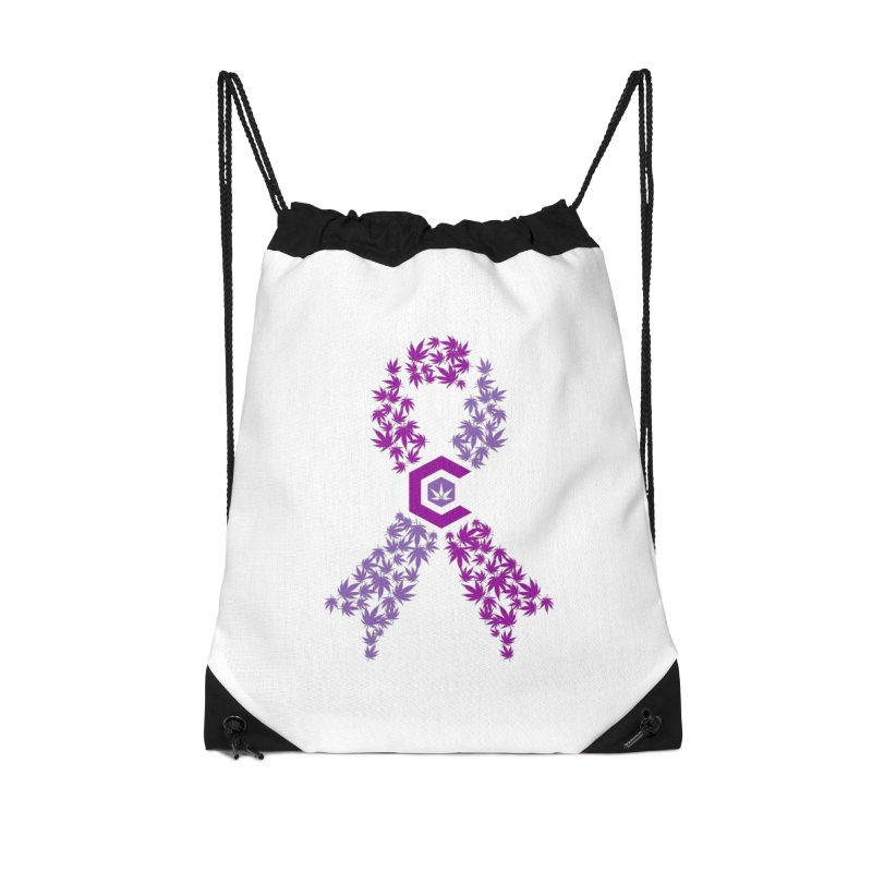 TMCC Purple Ribbon Accessories Drawstring Bag Bag by The Medical Cannabis Community