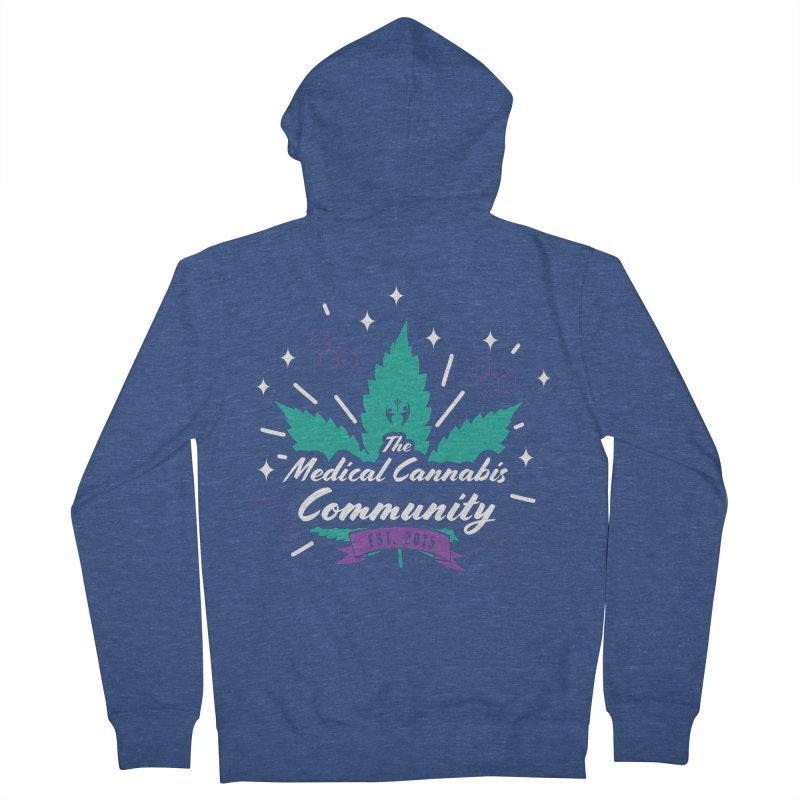 The Medical Cannabis Community EST. 2015 Gray/Teal Men's French Terry Zip-Up Hoody by The Medical Cannabis Community