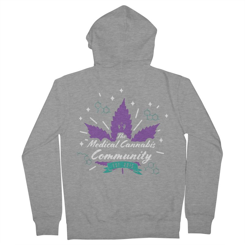 The Medical Cannabis Community EST.2015 Gray/Purple Men's French Terry Zip-Up Hoody by The Medical Cannabis Community