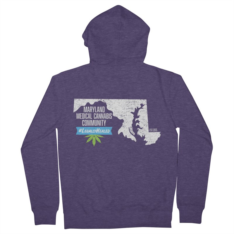 Maryland #LegallyHealed Brown Men's French Terry Zip-Up Hoody by The Medical Cannabis Community