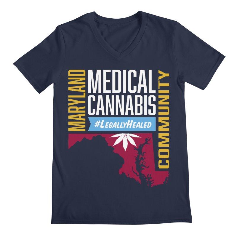 Maryland Medical Cannabis Community Men's Regular V-Neck by The Medical Cannabis Community