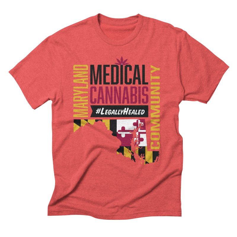 Maryland State Flag Medical Cannabis Community Men's Triblend T-Shirt by The Medical Cannabis Community