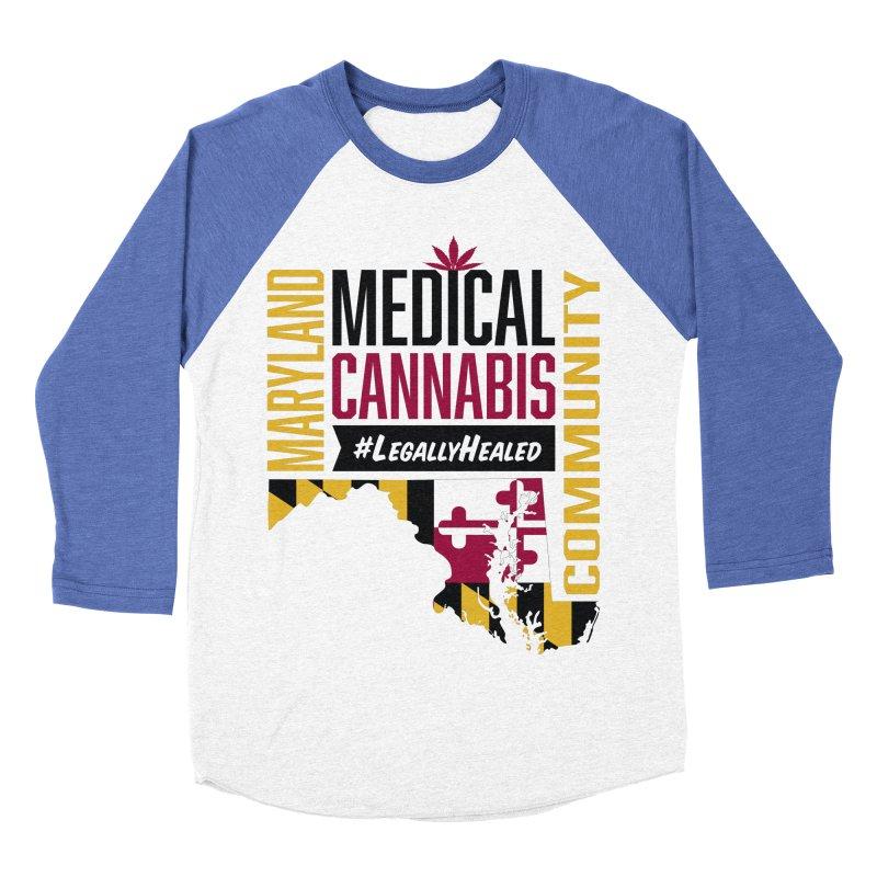Maryland State Flag Medical Cannabis Community Women's Baseball Triblend Longsleeve T-Shirt by The Medical Cannabis Community