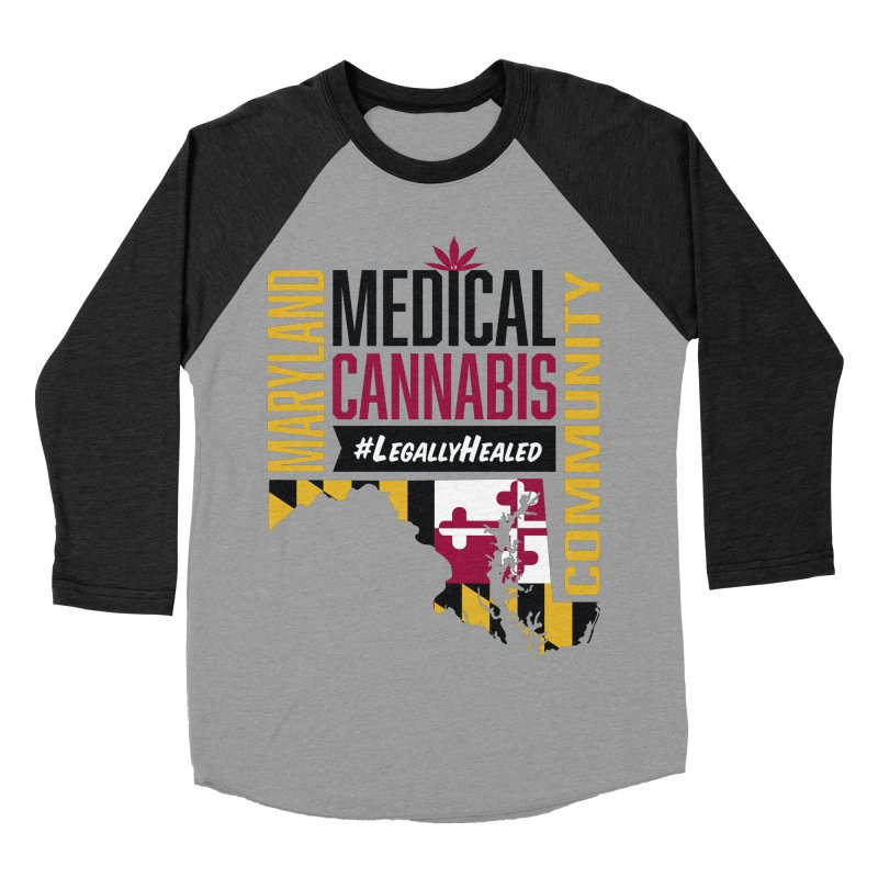 Maryland State Flag Medical Cannabis Community Women's Baseball Triblend Longsleeve T-Shirt by The Medical Cannabis Community