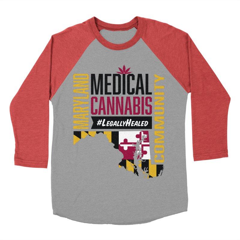 Maryland State Flag Medical Cannabis Community Men's Baseball Triblend Longsleeve T-Shirt by The Medical Cannabis Community
