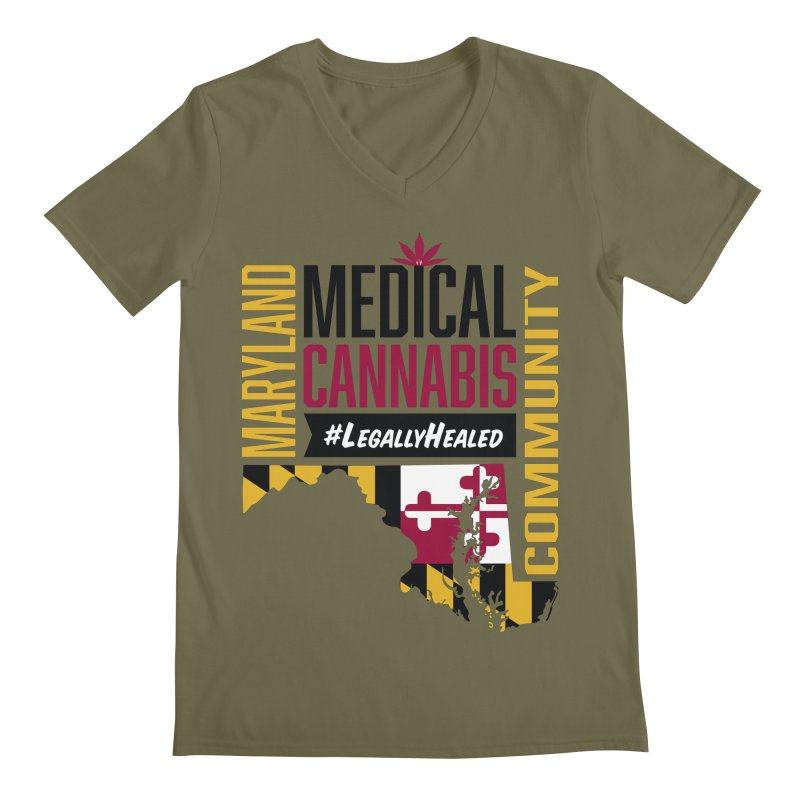 Maryland State Flag Medical Cannabis Community Men's Regular V-Neck by The Medical Cannabis Community