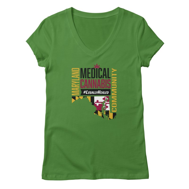 Maryland State Flag Medical Cannabis Community Women's Regular V-Neck by The Medical Cannabis Community