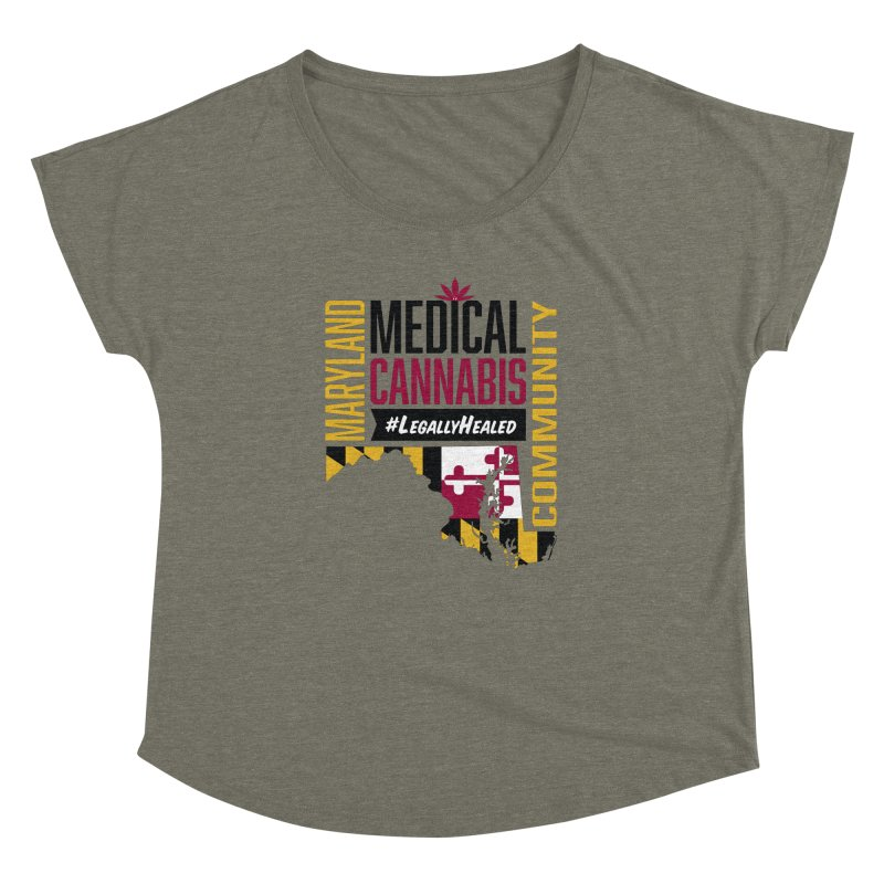 Maryland State Flag Medical Cannabis Community Women's Dolman Scoop Neck by The Medical Cannabis Community
