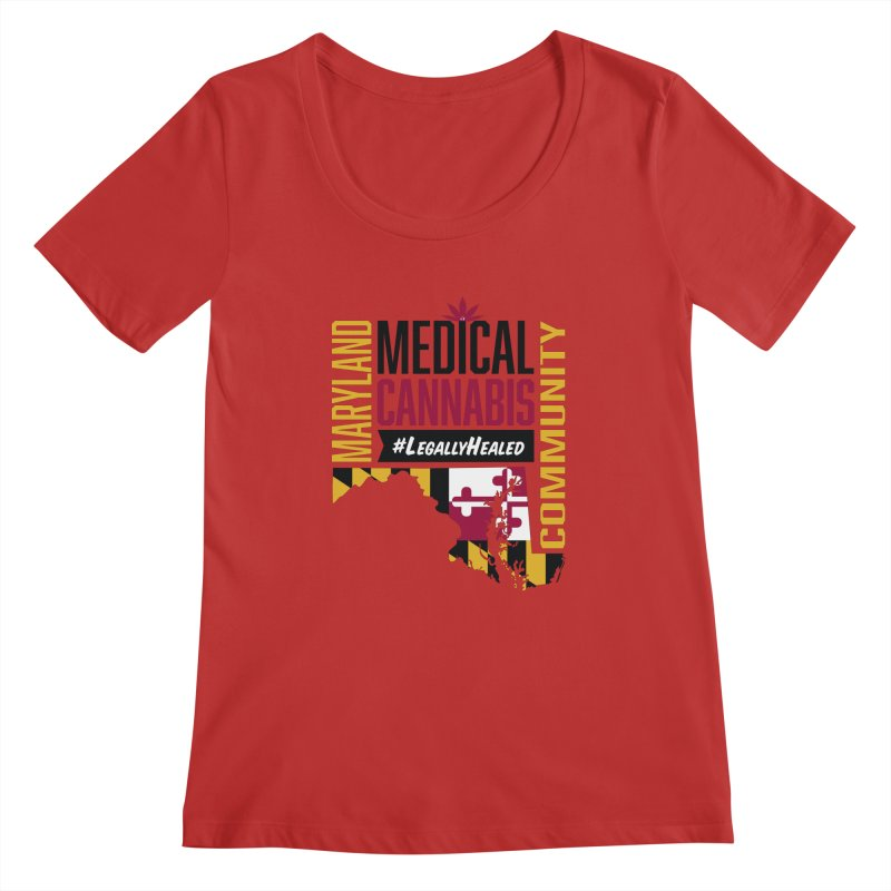 Maryland State Flag Medical Cannabis Community Women's Regular Scoop Neck by The Medical Cannabis Community