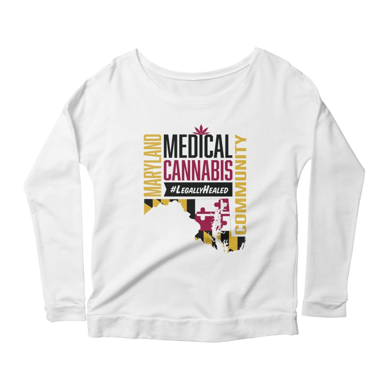 Maryland State Flag Medical Cannabis Community Women's Scoop Neck Longsleeve T-Shirt by The Medical Cannabis Community