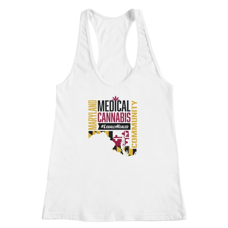 Maryland State Flag Medical Cannabis Community Women's Racerback Tank by The Medical Cannabis Community