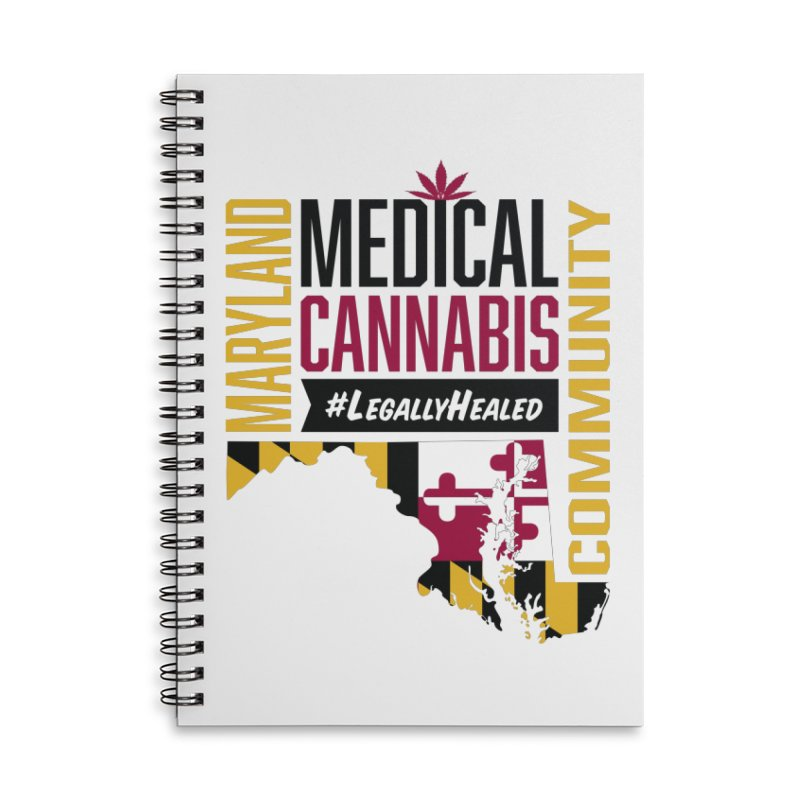 Maryland State Flag Medical Cannabis Community Accessories Lined Spiral Notebook by The Medical Cannabis Community